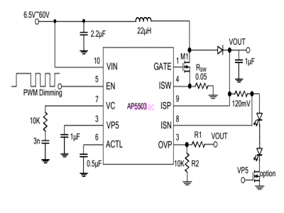 DC-DC high power lifting constant current IC external MOS